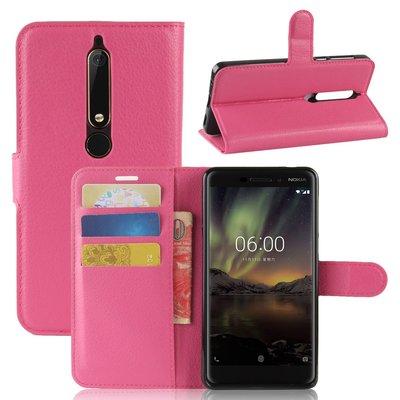 Nokia 6.1 (2018) hoesje, 3-in-1 bookcase, roze