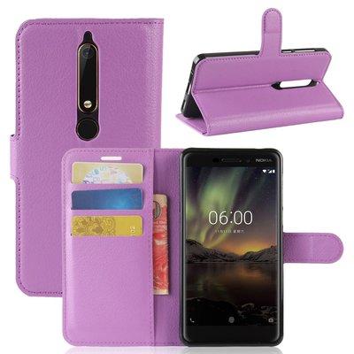 Nokia 6.1 (2018) hoesje, 3-in-1 bookcase, paars