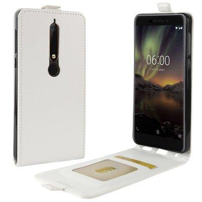 Nokia 6.1 (2018) hoesje, flipcase, wit