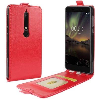 Nokia 6.1 (2018) hoesje, flipcase, rood