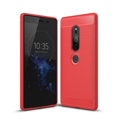 Sony Xperia XZ2 Premium hoesje, gel case carbon look, rood
