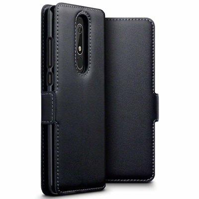 Nokia 5.1 (2018) hoesje, MobyDefend slim-fit echt leren bookcase, Zwart