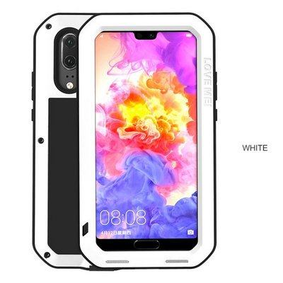 Huawei P20 hoes, Love Mei, metalen extreme protection case, zwart-wit