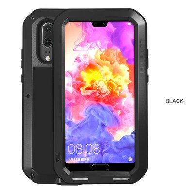 Huawei P20 hoes, Love Mei, metalen extreme protection case, zwart