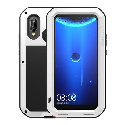 Huawei P20 Lite hoes, Love Mei, metalen extreme protection case, zwart-wit