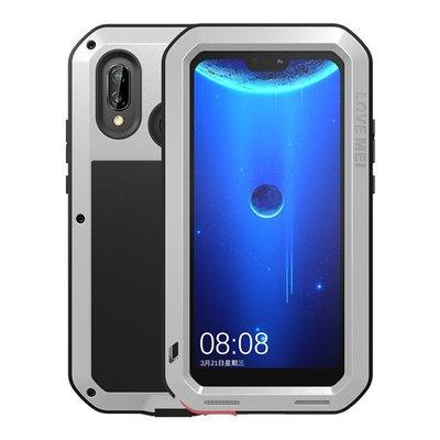 Huawei P20 Lite hoes, Love Mei, metalen extreme protection case, zwart-grijs