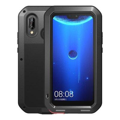 Huawei P20 Lite hoes, Love Mei, metalen extreme protection case, zwart