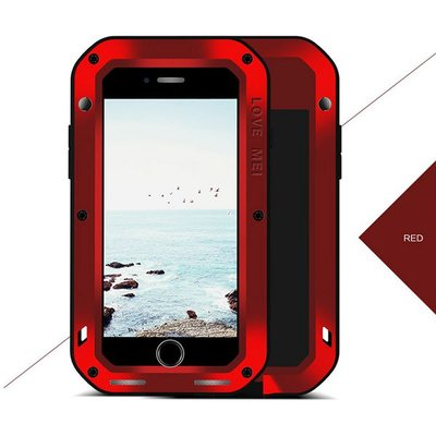 Apple iPhone 7 Plus / iPhone 8 Plus hoes, Love Mei, metalen extreme protection case, zwart-rood