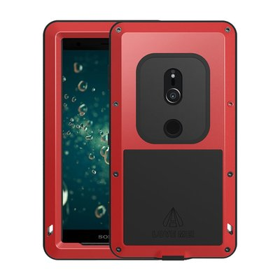 Sony Xperia XZ2 hoes, Love Mei, metalen extreme protection case, zwart-rood