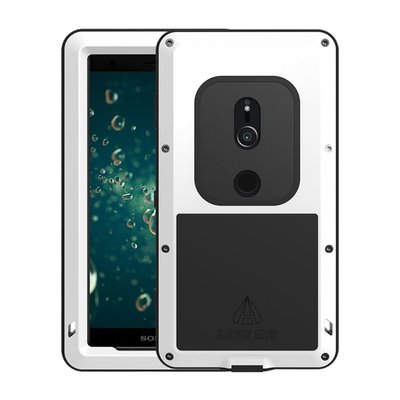 Sony Xperia XZ2 hoes, Love Mei, metalen extreme protection case, zwart-wit