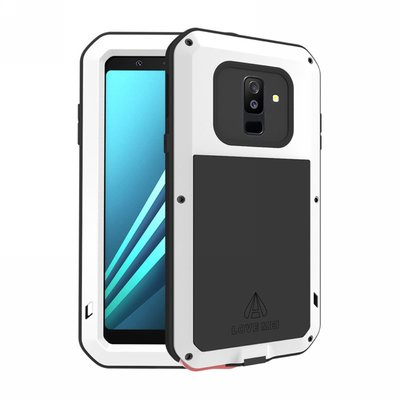 Samsung Galaxy A6+ (2018) / A6 Plus (2018) hoes, Love Mei, metalen extreme protection case, zwart-wit