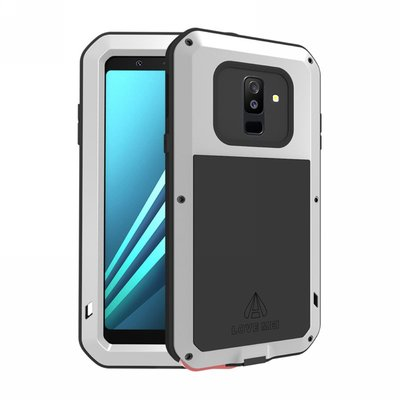 Samsung Galaxy A6+ (2018) / A6 Plus (2018) hoes, Love Mei, metalen extreme protection case, zwart-grijs