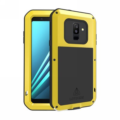 Samsung Galaxy A6+ (2018) / A6 Plus (2018) hoes, Love Mei, metalen extreme protection case, zwart-geel