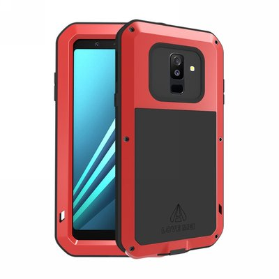 Samsung Galaxy A6+ (2018) / A6 Plus (2018) hoes, Love Mei, metalen extreme protection case, zwart-rood