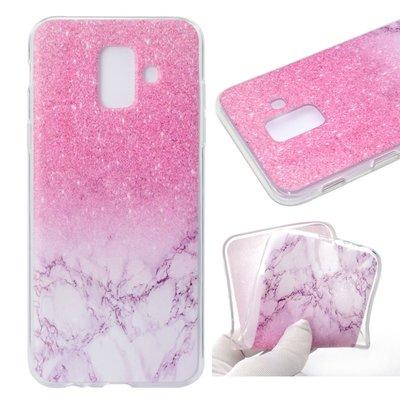 Samsung Galaxy A6 (2018) hoesje, gel case doorzichtig met print, roze marmer