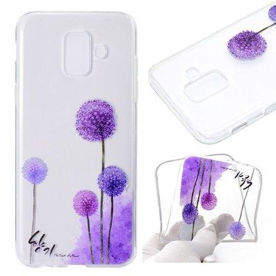 Samsung Galaxy A6 (2018) hoesje, gel case doorzichtig met print, paarse paardenbloemen