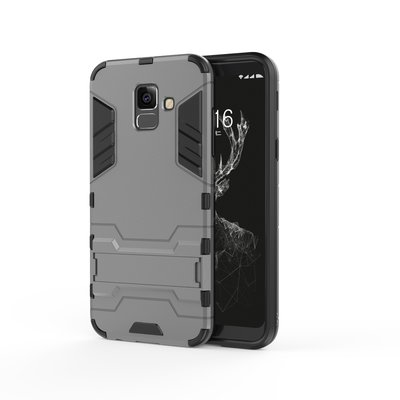 Samsung Galaxy A6 (2018) hoesje, extreme protection hardcase met standaard, grijs