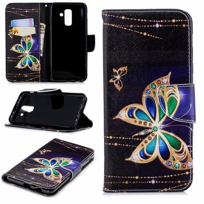 Samsung Galaxy A6+ (2018) / A6 Plus (2018) hoesje, 3-in-1 bookcase met print, gouden vlinder