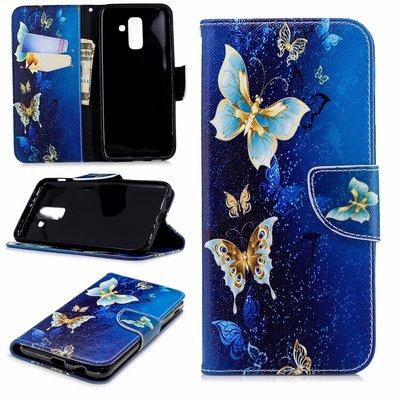 Samsung Galaxy A6+ (2018) / A6 Plus (2018) hoesje, 3-in-1 bookcase met print, blauw-gouden vlinders