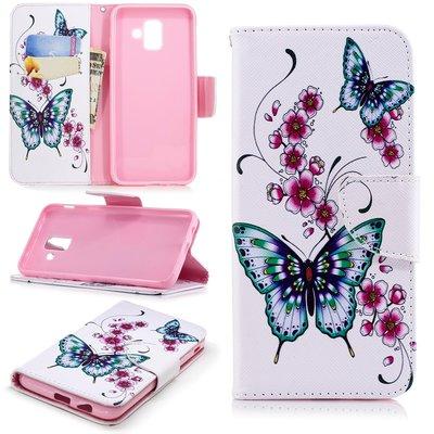 Samsung Galaxy A6+ (2018) / A6 Plus (2018) hoesje, 3-in-1 bookcase met print, vlinders