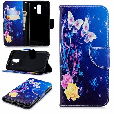 Samsung Galaxy A6+ (2018) / A6 Plus (2018) hoesje, 3-in-1 bookcase met print, vlinders en bloemen