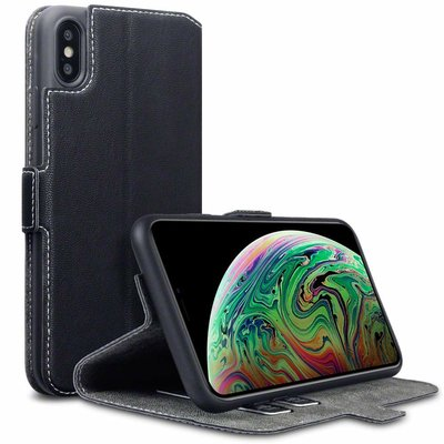 Apple iPhone XS Max hoesje, MobyDefend slim-fit extra dunne bookcase, Zwart