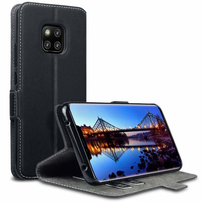 Huawei Mate 20 Pro hoesje, MobyDefend slim-fit extra dunne bookcase, Zwart
