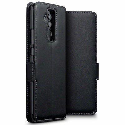 Huawei Mate 20 Lite hoesje, MobyDefend slim-fit echt leren bookcase, Zwart