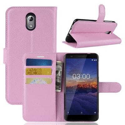 Nokia 3.1 (2018) hoesje, 3-in-1 bookcase, licht roze