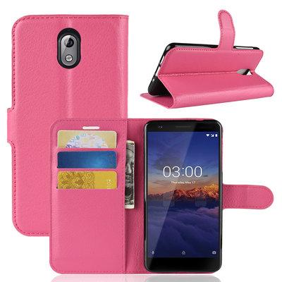 Nokia 3.1 (2018) hoesje, 3-in-1 bookcase, donker roze