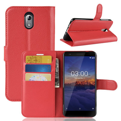 Nokia 3.1 (2018) hoesje, 3-in-1 bookcase, rood