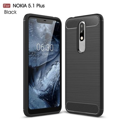 Nokia 5.1 Plus hoesje, gel case carbon look, zwart