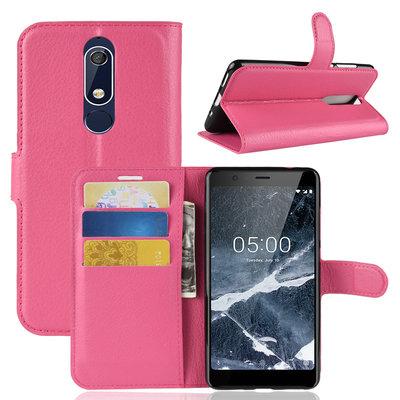 Nokia 5.1 (2018) hoesje, 3-in-1 bookcase, donker roze