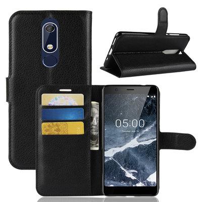 Nokia 5.1 (2018) hoesje, 3-in-1 bookcase, zwart