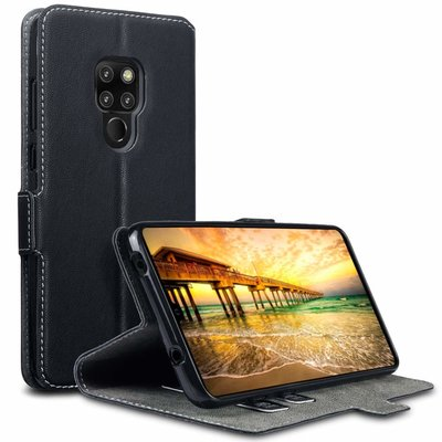 Huawei Mate 20 hoesje, MobyDefend slim-fit extra dunne bookcase, Zwart