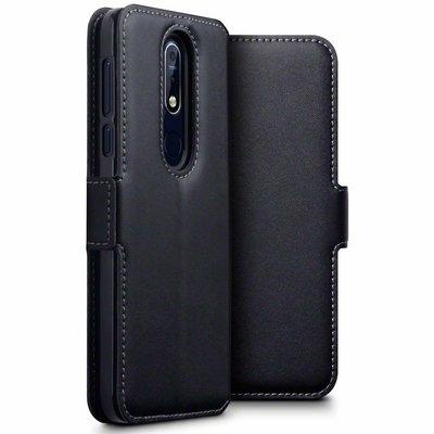 Nokia 7.1 (2018) hoesje, echt lederen 3-in-1 bookcase, zwart
