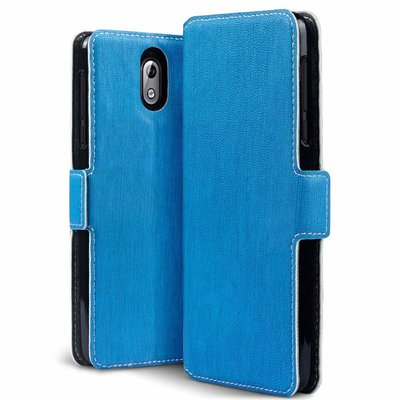 Nokia 3.1 (2018) hoesje, MobyDefend slim-fit extra dunne bookcase, Blauw