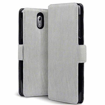Nokia 3.1 (2018) hoesje, MobyDefend slim-fit extra dunne bookcase, Grijs