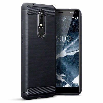 Nokia 5.1 (2018) hoesje, gel case carbon look, zwart