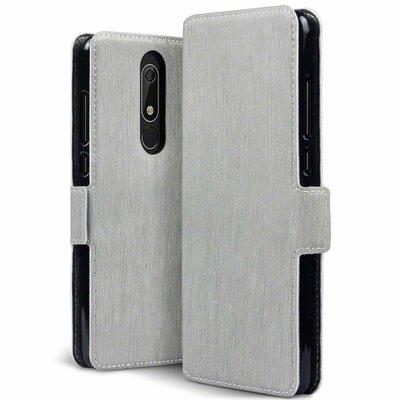 Nokia 5.1 (2018) hoesje, MobyDefend slim-fit extra dunne bookcase, Grijs