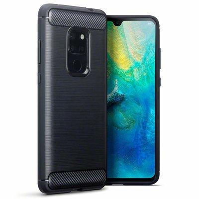 Huawei Mate 20 hoesje, gel case carbon look, zwart