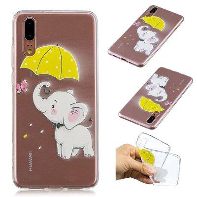 Huawei P20 hoesje, gel case doorzichtig met print, olifant met paraplu