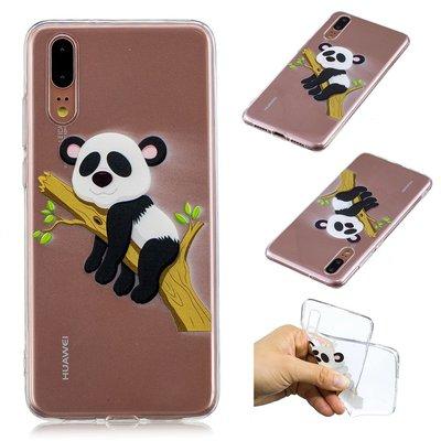 Huawei P20 hoesje, gel case doorzichtig met print, panda in boom
