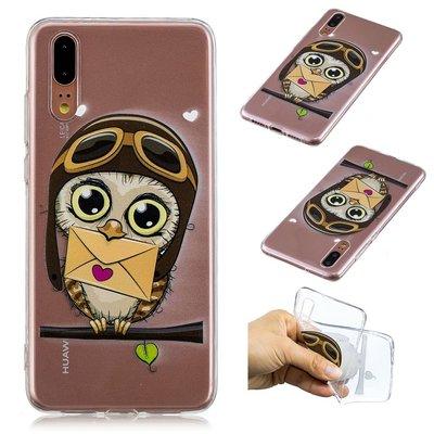 Huawei P20 hoesje, gel case doorzichtig met print, uiltje met post