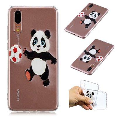 Huawei P20 hoesje, gel case doorzichtig met print, panda met bal