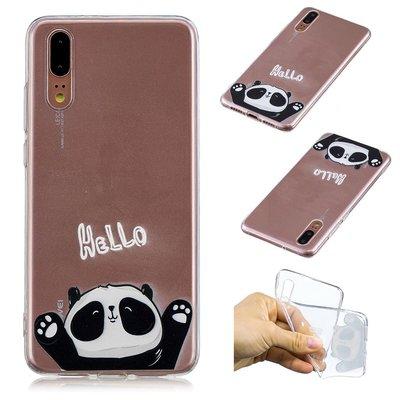 Huawei P20 hoesje, gel case doorzichtig met print, panda, hello