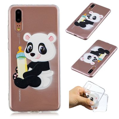 Huawei P20 hoesje, gel case doorzichtig met print, baby panda