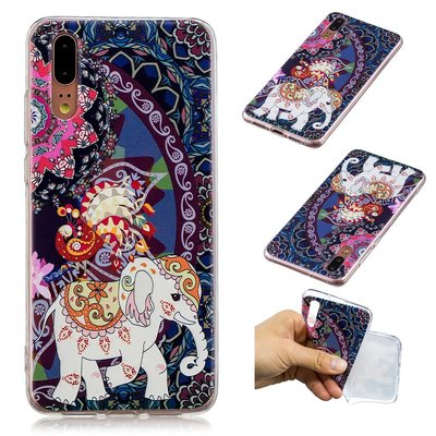 Huawei P20 hoesje, gel case met print, olifant
