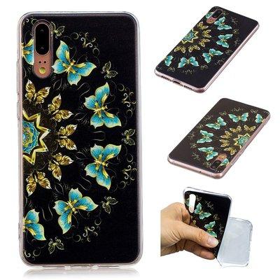 Huawei P20 hoesje, gel case met print, vlinders