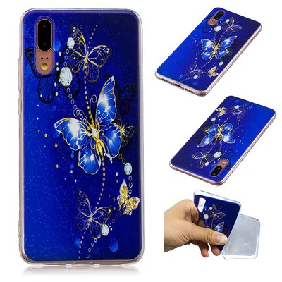 Huawei P20 hoesje, gel case met print, blauwe vlinders